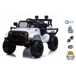 OFFROAD elektromos autó hátsó kerék-meghajtással, fehér, 12 V-os elem, magas alváz, széles ülés, lengéscsillapított kerekek, 2,4 GHz-es távirányító, MP3-lejátszó USB / SD bemenettel, LED-es lámpák