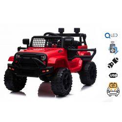 OFFROAD elektromos autó hátsó kerék-meghajtással, piros, 12 V-os elem, magas alváz, széles ülés, lengéscsillapított kerekek, 2,4 GHz-es távirányító, MP3-lejátszó USB / SD bemenettel, LED-es lámpák