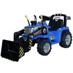 Elektromos traktor MASTER merőkanállal, kék, Hátsókerék-meghajtás, 12 V-os akkumulátor, Műanyag kerekek, 2 X 35 W-os motor, széles ülés, 2,4 GHz-es távirányító, egyszemélyes, MP3 lejátszó Aux bemenettel