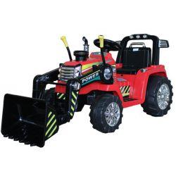 Elektromos traktor MASTER merőkanállal, piros, Hátsókerék-meghajtás, 12 V-os akkumulátor, Műanyag kerekek, 2 X 35 W-os motor, széles ülés, 2,4 GHz-es távirányító, egyszemélyes, MP3 lejátszó Aux bemenettel