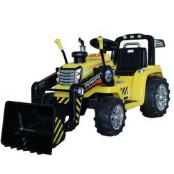 Elektromos traktor MASTER merőkanállal, sárga, Hátsókerék-meghajtás, 12 V-os akkumulátor, Műanyag kerekek, 2 X 35 W-os motor, széles ülés, 2,4 GHz-es távirányító, egyszemélyes, MP3 lejátszó Aux bemenettel
