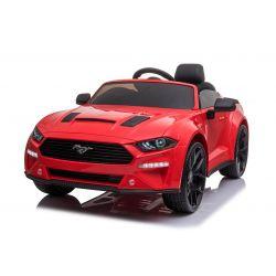 Ford Mustang 24V Elektromos játékautó, piros, puha EVA kerekek, motorok: 2 x 16 000 fordulat, 24V akkumulátor, LED-es lámpák, 2,4 GHz-es távirányító, MP3-lejátszó, eredeti licenc