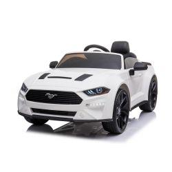 Ford Mustang 24V Elektromos játékautó, fehér, puha EVA kerekek, motorok: 2 x 16 000 fordulat, 24V akkumulátor, LED-es lámpák, 2,4 GHz-es távirányító, MP3-lejátszó, eredeti licenc