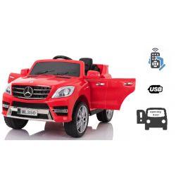 Elektromos kisautó gyerekeknek Mercedes-Benz ML 350, egyszemélyes ülés, rugózással, akku 12V, 2,4 GHz távirányító, nyitható ajtók, 2 X MOTOR, piros, eredeti liszensz