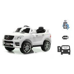 Elektromos kisautó gyerekeknek Mercedes-Benz ML 350, egyszemélyes ülés, rugózással, akku 12V, 2,4 GHz távirányító, nyitható ajtók, 2 X MOTOR, Fehér, eredeti liszensz