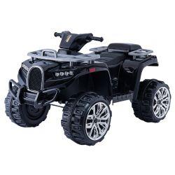 Elektromos QUAD ATV ALLROAD 12V, fekete, puha EVA kerekek, LED lámpák, MP3 lejátszó USB bemenettel, 2 X 12 V motor, 12V7Ah akkumulátor