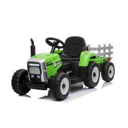 Elektromos traktor WORKERS utánfutóval, zöld, Hátsó kerék meghajtás, 12 V-os akkumulátor, műanyag kerekek, széles műanyag ülés, 2,4 GHz-es távirányító, egyszemélyes, MP3 lejátszó USB bemenettel, Bluetooth, LED-es világítás