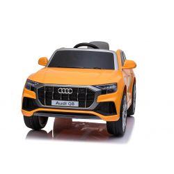 Elektromos autó Audi Q8, 12V, 2,4 GHz távirányító, USB / SD bemenet, LED-es lámpák, 12 V-os elem, puha EVA kerekek, 2 X MOTOR, narancssárga, Eredeti liszensz