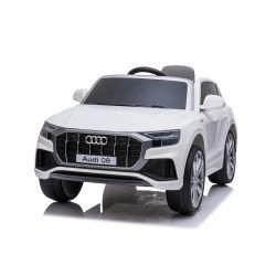 Elektromos autó Audi Q8, 12V, 2,4 GHz távirányító, USB / SD bemenet, LED-es lámpák, 12 V-os elem, puha EVA kerekek, 2 X MOTOR, fehér, Eredeti liszensz