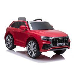 Elektromos autó Audi Q8, 12V, 2,4 GHz távirányító, USB / SD bemenet, LED-es lámpák, 12 V-os elem, puha EVA kerekek, 2 X MOTOR, piros, Eredeti liszensz