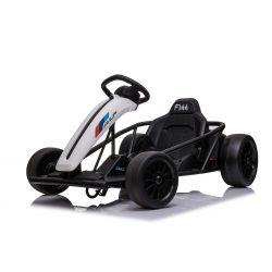 Drift Car elektromos Gokart 24V, fehér, sima drift kerekek, 2 x 350 W-os motor, drift mód 13 Km / h sebességgel, 24 V-os akkumulátor, szilárd szerkezet