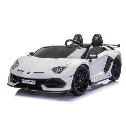 Lamborghini Aventador 12V Elektromos játékautó kétszemélyes, fehér, 2,4 GHz-es távirányító, USB / SD bemenet, felfüggesztés, felfelé nyíló ajtó, puha EVA kerekek, 2 X MOTOR, Eredeti licenc