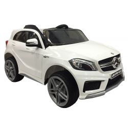 Elektromos kisautó gyerekeknek Mercedes-Benz A 45 AMG, rugózással, 12V, 2,4 GHz távirányító, nyitható ajtók, 2 X MOTOR, fehér, eredeti liszensz