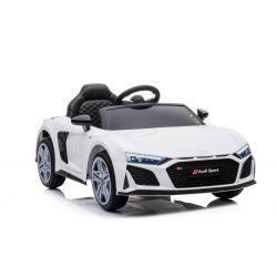 Audi R8 Spyder elektromos játékautó új modell, műanyag ülés, műanyag kerekek, USB / SD bemenet, akkumulátor 12V, 2 X 25W MOTOR, fehér, EREDETI licenc