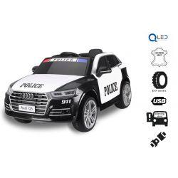 Elektromos autó gyerekeknek Audi Q5 Rendőr autó, 2,4 GHz DO, 2 X 40W MOTOR, egyszemélyes, fekete, USB, SD kártya, bőrülés, Eva kerekek, Eredeti liszensz