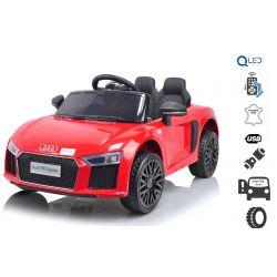 Elektromos autó Audi R8, Egyszemélyes, 12 V, 2,4 GHz távirányító, USB / SD bemenet, lengéscsillapított, 12 V akkumulátor, puha EVA kerekek, 2 X MOTOR, piros, eredeti liszensz