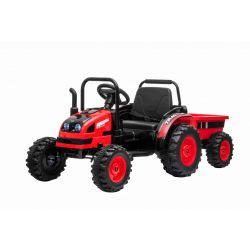 Elektromos POWER traktor utánfutóval, piros, Hátsó kerék meghajtás, 12V akkumulátor, Műanyag kerekek, Első felfüggesztés, széles ülés, 2,4 GHz-es távirányító, Egyszemélyes, MP3 lejátszó, LED világítás