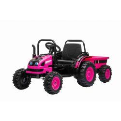 Elektromos POWER traktor utánfutóval, rózsaszín, Hátsó kerék meghajtás, 12V akkumulátor, Műanyag kerekek, Első felfüggesztés, széles ülés, 2,4 GHz-es távirányító, Egyszemélyes, MP3 lejátszó, LED világítás
