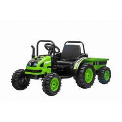 Elektromos POWER traktor utánfutóval, zöld, Hátsó kerék meghajtás, 12V akkumulátor, Műanyag kerekek, Első felfüggesztés, széles ülés, 2,4 GHz-es távirányító, Egyszemélyes, MP3 lejátszó, LED világítás