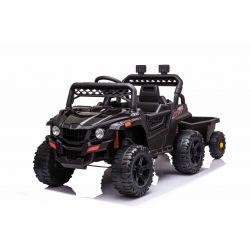 RSX mini  Elektromos játékautó utánfutóval, fekete, Hátsó kerékmeghajtás, 12 V-os akkumulátor, Műanyag kerekek, széles ülés, 2,4 GHz-es távirányító, egyszemélyes, MP3 lejátszó USB / SD bemenettel, LED-es világítás