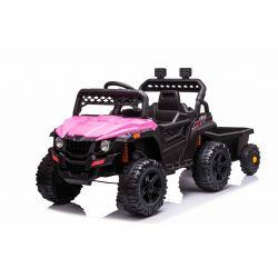 RSX mini  Elektromos játékautó utánfutóval, rózsaszín, Hátsó kerékmeghajtás, 12 V-os akkumulátor, Műanyag kerekek, széles ülés, 2,4 GHz-es távirányító, egyszemélyes, MP3 lejátszó USB / SD bemenettel, LED-es világítás