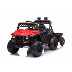 RSX mini  Elektromos játékautó utánfutóval, piros, Hátsó kerékmeghajtás, 12 V-os akkumulátor, Műanyag kerekek, széles ülés, 2,4 GHz-es távirányító, egyszemélyes, MP3 lejátszó USB / SD bemenettel, LED-es világítás
