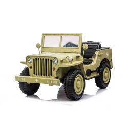 ARMY 4X4 Elektromos játékautó, sárga, Háromüléses, MP3 lejátszó USB / SD bemenettel, Lengéscsillapított kerekek, LED-es lámpák, Lehajtható szélvédő, 12V14AH, EVA kerekek, Bőr ülések, 2,4 GHz-es távirányító, 4 x 4 meghajtás