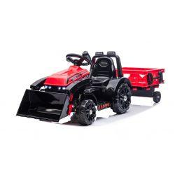 Elektromos FARMER  traktor merőkanállal és utánfutóval, piros, hátsókerék-meghajtás, 6 V-os akkumulátor, műanyag kerekek, széles ülés, 20 W-os motor, Egyszemélyes, Kormánykerék-vezérlés, LED-es lámpák