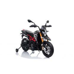 Elektromos motorkerékpár APRILIA DORSODURO 900, Eredeti liszensz, 12 V, EVA puha kerekek, 2 x 18 W motor, 12 V akkumulátor, Lengéscsillapított, fémkeret, fémvilla, segédkerekek, szürke