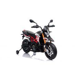 Elektromos motorkerékpár APRILIA DORSODURO 900, Eredeti liszensz, 12 V, EVA puha kerekek, 2 x 18 W motor, 12 V akkumulátor, Lengéscsillapított, fémkeret, fémvilla, segédkerekek, piros