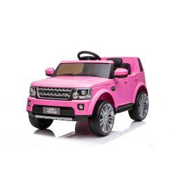 Land Rover Discovery elektromos autó, 12 V, 2,4 GHz-es távirányító, USB / AUX bemenet, lengéscsillapított kerekek, nyitható ajtók és motorháztető, 2 X 35 W-os MOTOR, rózsaszín, Eredeti licenc