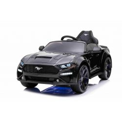 Ford Mustang 24V Elektromos játékautó, fekete, puha EVA kerekek, motorok: 2 x 16 000 fordulat, 24V akkumulátor, LED-es lámpák, 2,4 GHz-es távirányító, MP3-lejátszó, eredeti licenc