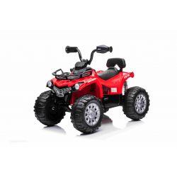 Elektromos ATV SUPERPOWER 12V, piros, műanyag kerekek gumiszalaggal, 2 x 45W motor, műanyag ülés, felfüggesztés, 12V7Ah akkumulátor, MP3 lejátszó