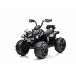 Elektromos ATV SUPERPOWER 12V, fekete, műanyag kerekek gumiszalaggal, 2 x 45W motor, műanyag ülés, felfüggesztés, 12V7Ah akkumulátor, MP3 lejátszó
