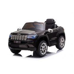 JEEP GRAND CHEROKEE 12V Elektromos játékautó, fekete, műbőr ülés, 2,4 GHz-es távirányító, USB / AUX bemenet, felfüggesztés, 12 V-os akkumulátor, puha EVA kerekek, 2 X 35 W-os MOTOR, ORIGINAL licenc