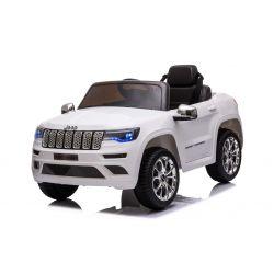 JEEP GRAND CHEROKEE 12V Elektromos játékautó, fehér, műbőr ülés, 2,4 GHz-es távirányító, USB / AUX bemenet, felfüggesztés, 12 V-os akkumulátor, puha EVA kerekek, 2 X 35 W-os MOTOR, ORIGINAL licenc