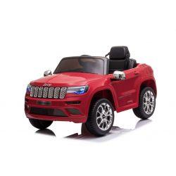 JEEP GRAND CHEROKEE 12V Elektromos játékautó, piros, műbőr ülés, 2,4 GHz-es távirányító, USB / AUX bemenet, felfüggesztés, 12 V-os akkumulátor, puha EVA kerekek, 2 X 35 W-os MOTOR, ORIGINAL licenc