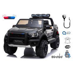Elektromos autó gyerekeknek Ford Raptor Police, EVA kerekek, kiváló minőségű felfüggesztés, kárpitozott ülés, 2,4 GHz DO, kulcs, 2 X MOTOR, kétüléses, USB, SD kártya, Eredeti liszensz
