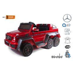 Mercedes-Benz G63 6X6 Elektromos gyermekautó, Piros Lakkozott, LCD Kijelző, 6 Kerék, Világító Kerekek, 4x4 Meghajtás, 12V14AH, Hordozható Akkumulátor, EVA Kerekek, Párnázott bőr ülések, 2,4 GHz Távirányító, Kulcs, 4X MOTOR, Két
