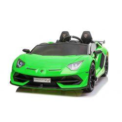 Lamborghini Aventador 24V elektromos játékautó, kétüléses, zöld lakkozott, 2,4 GHz DO, puha PU ülések, LCD kijelző, felfüggesztés, felfelé nyitható ajtók, puha EVA kerekek, 2 X 45W-os MOTOR, EREDETI licenc