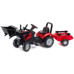 FALK Pedálos traktor 961AM Case markolóval és pótkocsival