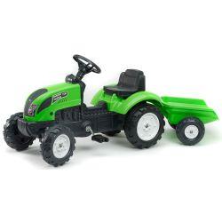 FALK Pedálos traktor 2057J Garden master zöld pótkocsival