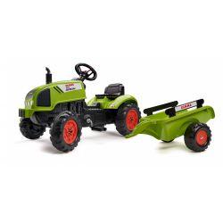 FALK Pedálos traktor 2041C Claas Arion pótkocsival és nyitható motorháztetővel