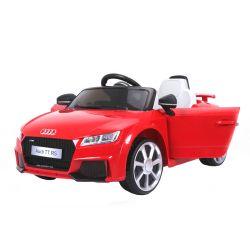 Elektromos kisautó gyerekeknek Audi TT RS, 12V, 2,4 GHz távirányító, nyitható ajtók, EVA kerekek, bőr ülés, 2 X MOTOR, piros, Eredeti Liszensz