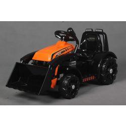 Elektromos FARMER  traktor merőkanállal, narancssárga, hátsókerék-meghajtás, 6 V-os akkumulátor, műanyag kerekek, széles ülés, 20 W-os motor, Egyszemélyes, Kormánykerék-vezérlés, LED-es lámpák