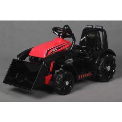 Elektromos FARMER  traktor merőkanállal, piros, hátsókerék-meghajtás, 6 V-os akkumulátor, műanyag kerekek, széles ülés, 20 W-os motor, Egyszemélyes, Kormánykerék-vezérlés, LED-es lámpák