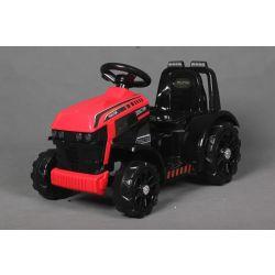 Elektromos traktor FARMER, piros, hátsókerék-hajtás, 6 V-os akkumulátor, műanyag kerekek, széles ülés, 20 W-os motor, Egyszemélyes, Kormánykerék-vezérlés, LED-es lámpák