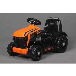 Elektromos traktor FARMER, narancssárga, hátsókerék-hajtás, 6 V-os akkumulátor, műanyag kerekek, széles ülés, 20 W-os motor, Egyszemélyes, Kormánykerék-vezérlés, LED-es lámpák