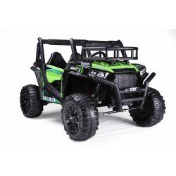 Elektromos autó UTV 24V, zöld, két üléses, 2 x 200 W motor, EVA kerekek, lengéscsillapított kerekek, elektromos fék, kárpitozott ülés, USB, SD kártya, 2,4 GHz-es távirányítóval