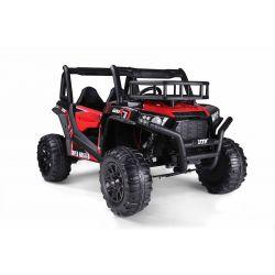 Elektromos autó UTV 24V, piros, két üléses, 2 x 200 W motor, EVA kerekek, lengéscsillapított kerekek, elektromos fék, kárpitozott ülés, USB, SD kártya, 2,4 GHz-es távirányítóval